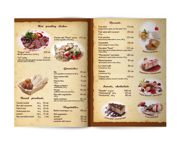 Дизайн меню для кафе фото